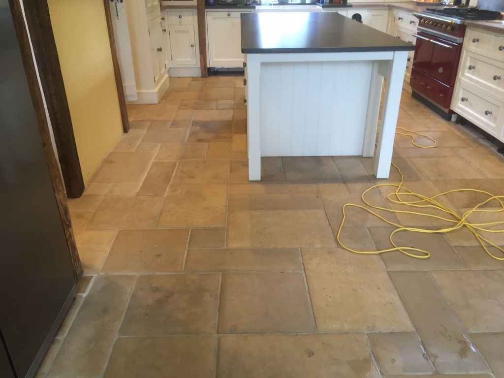 Limestone Kitchen Floor Polished In Lyndhurst New Forest