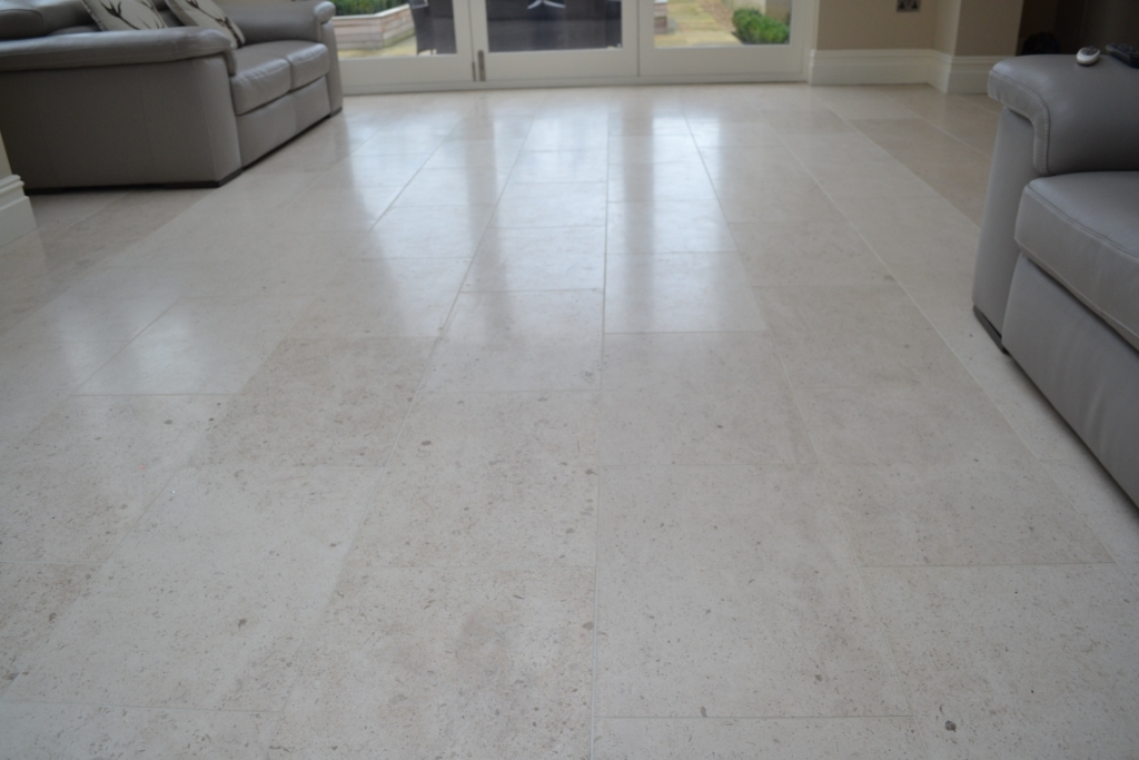 Dull Limestone Tiles Brought Back To Life With Burnishing