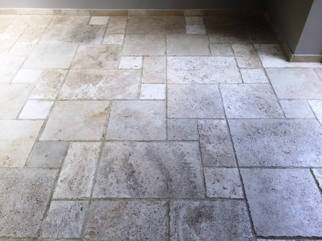 Pitted Travertine Tiled Floor Rejuvenated In Andover