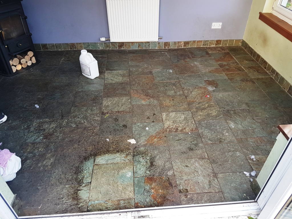 Cleaning And Sealing Heavily Soiled Slate Tiles In