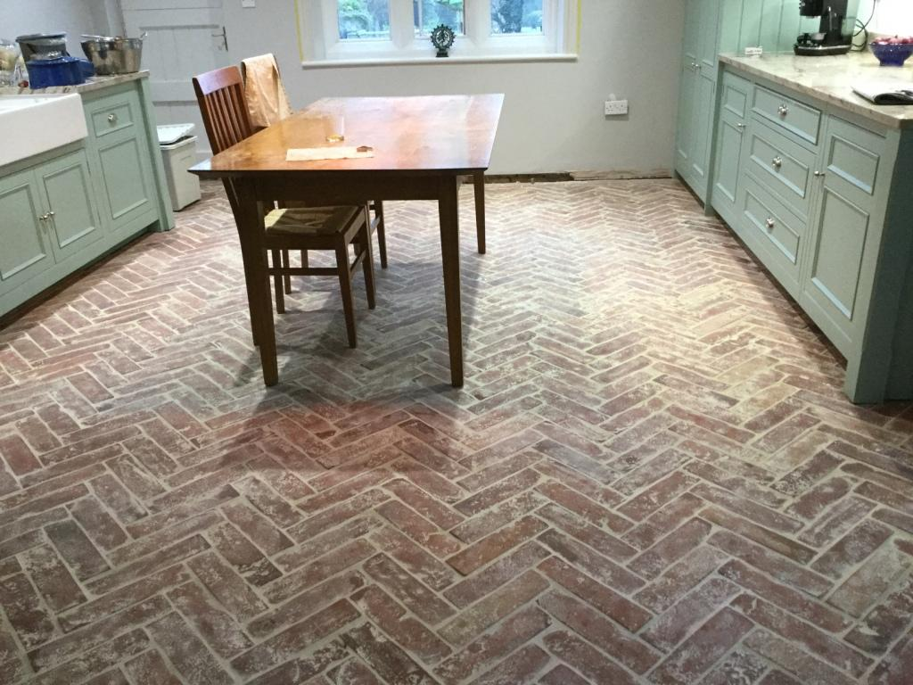 Terracotta Tiled Kitchen Floor With Severe Grout Haze