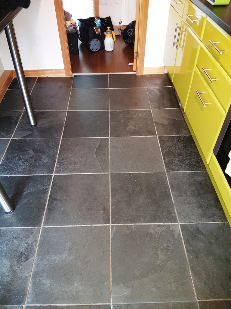Slate Tile Cleaning And Grout Recolouring In A Linwood