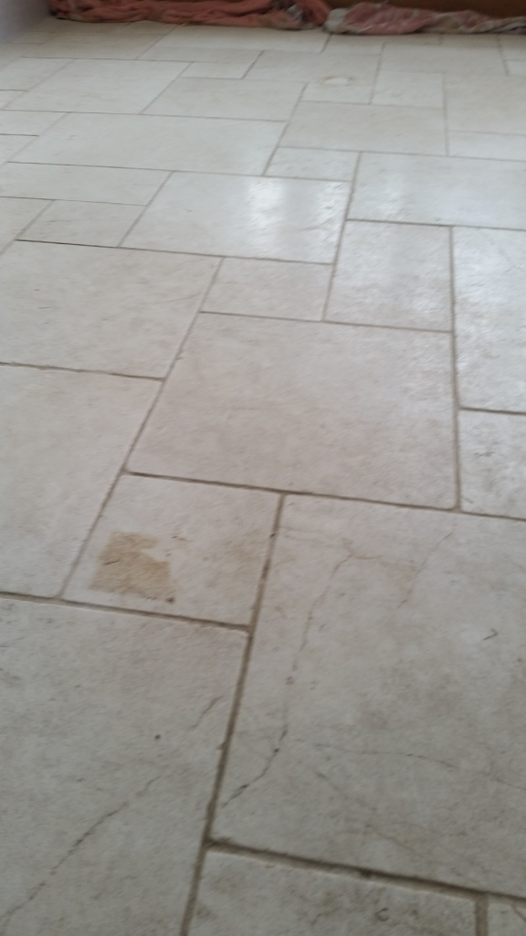 Cracked Limestone Floor Repaired And Polished In