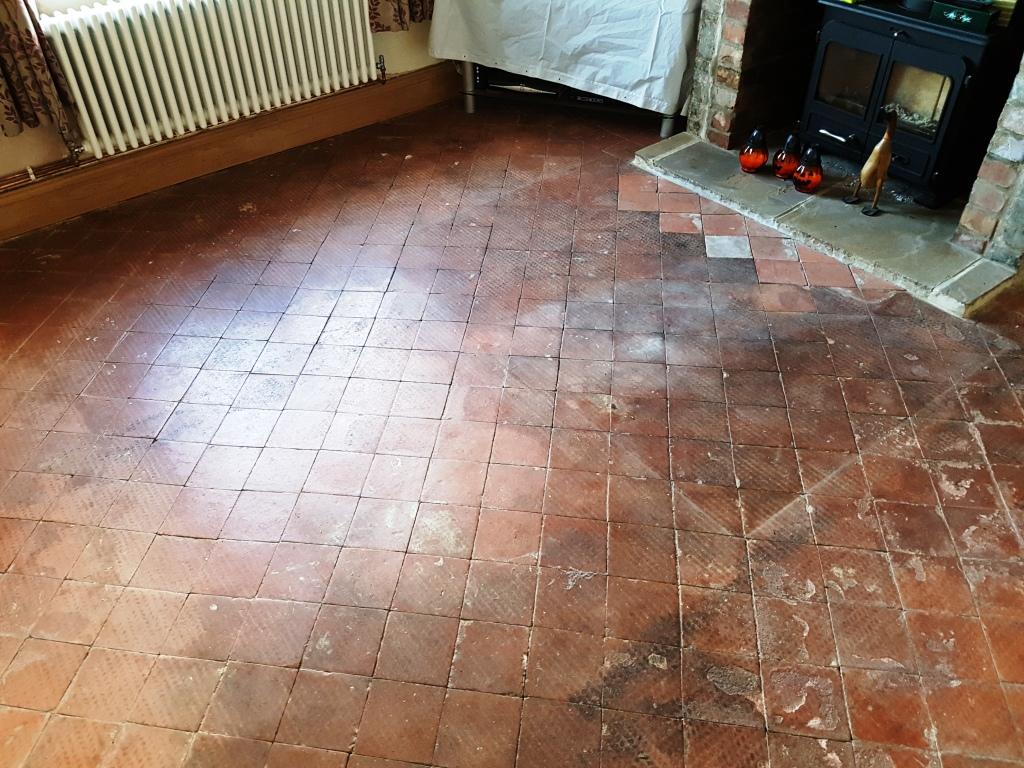Dirty Quarry Tiled Floor Transformed In Hale Tile Cleaners Tile - Cleaning very dirty tile floors