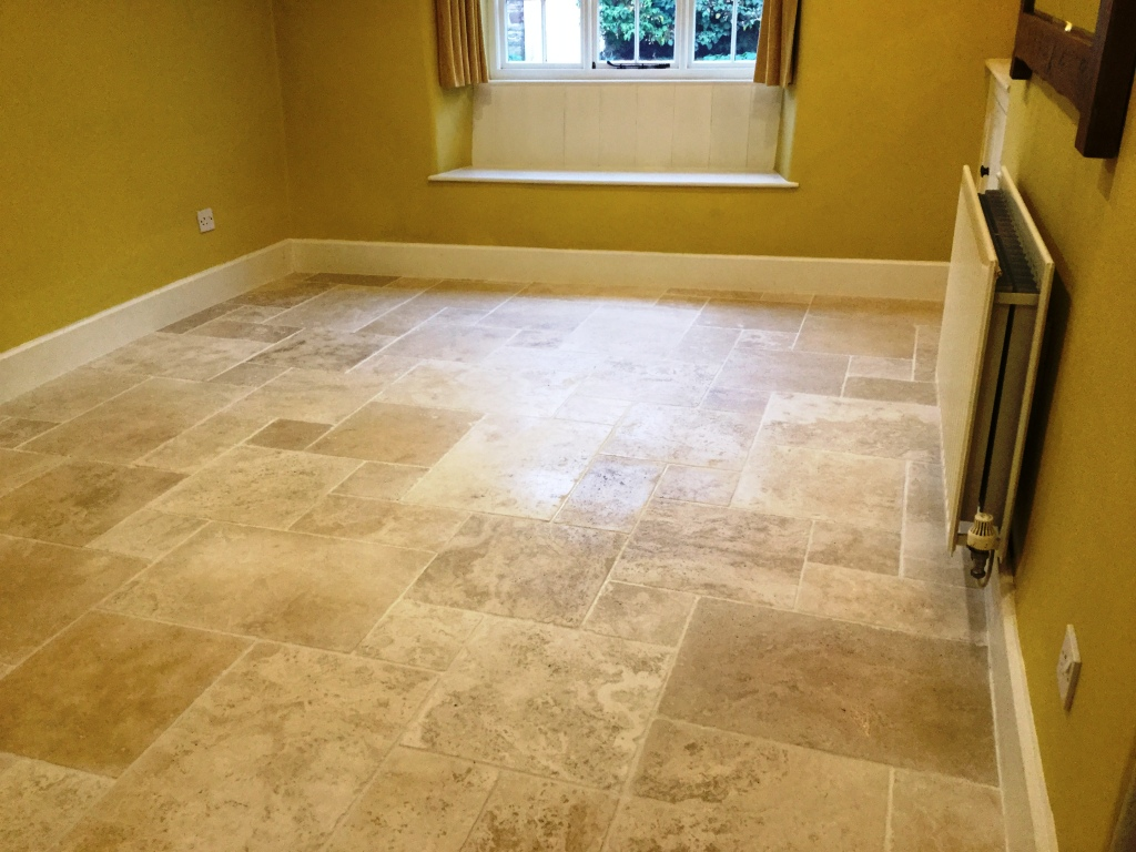 Burnishing Travertine Tiles To Restore Lustre In Staverton Tile Cleaners Tile Cleaning