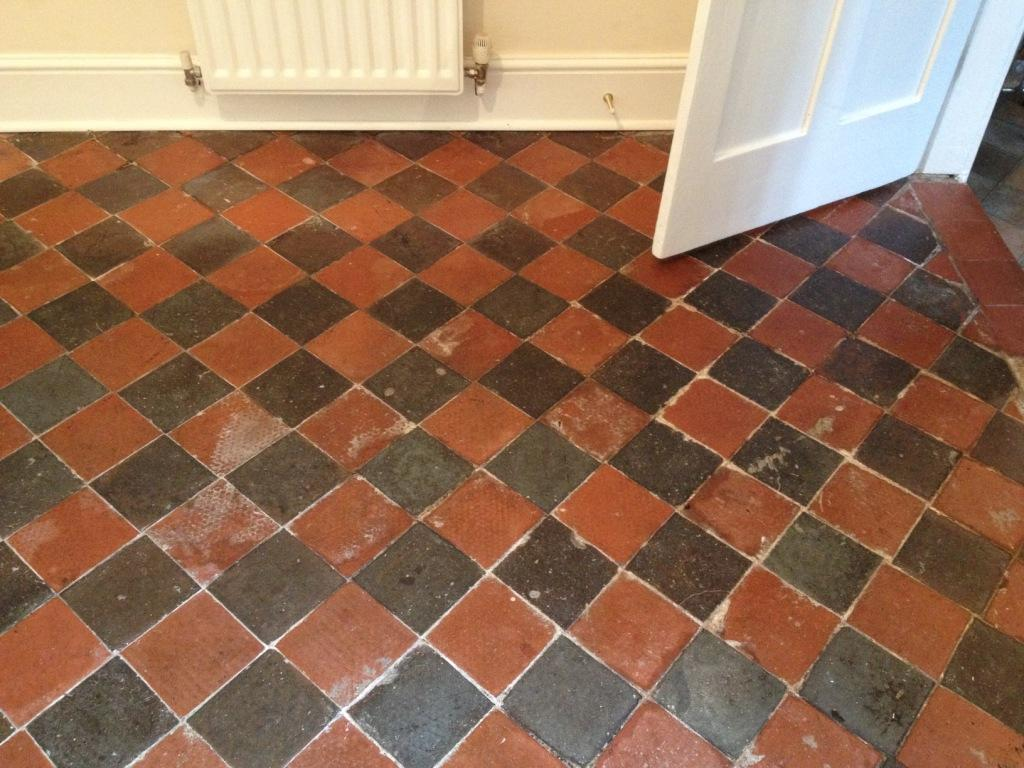 Victorian and quarry tiled floors restored in shrewsbury tile black and red quarry tiled dining room before cleaning in shrewsbury dailygadgetfo Images