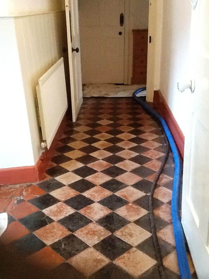 Colour Restored To A Faded Black And Red Quarry Tiled