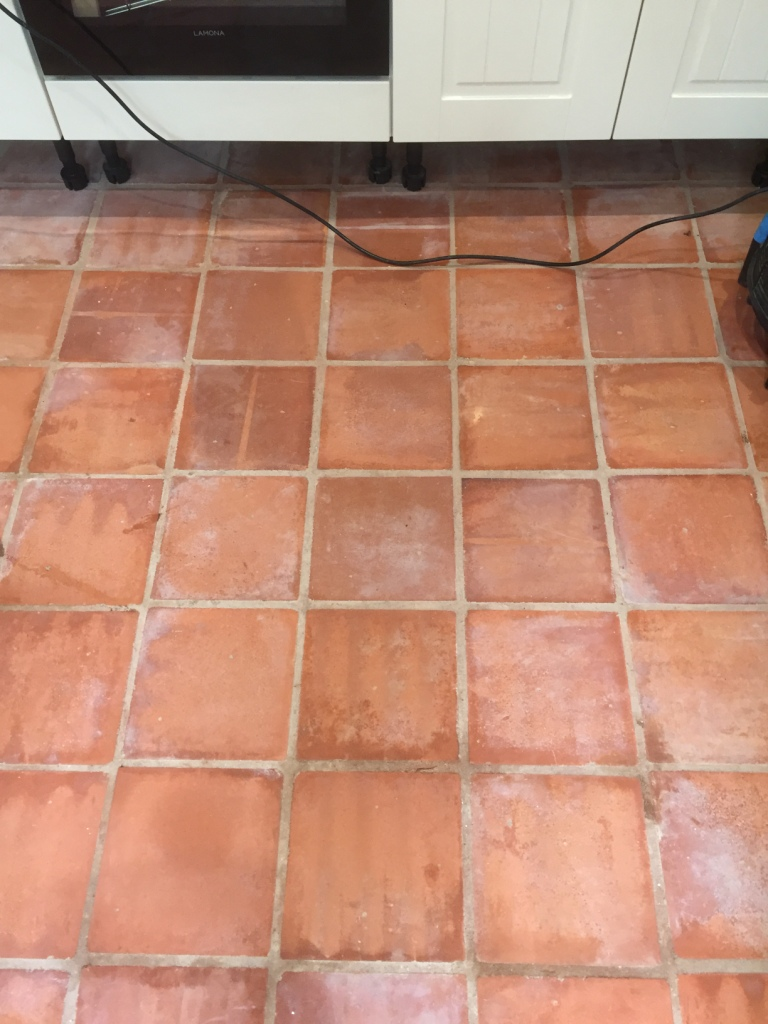 Unsealed Terracotta Kitchen Tiles Treated For Grout Haze