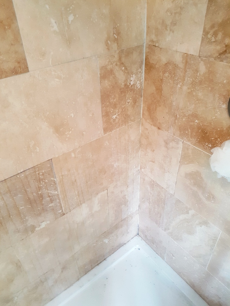 Cleaning A Travertine Tiled Shower Cubicle In Newton Heath