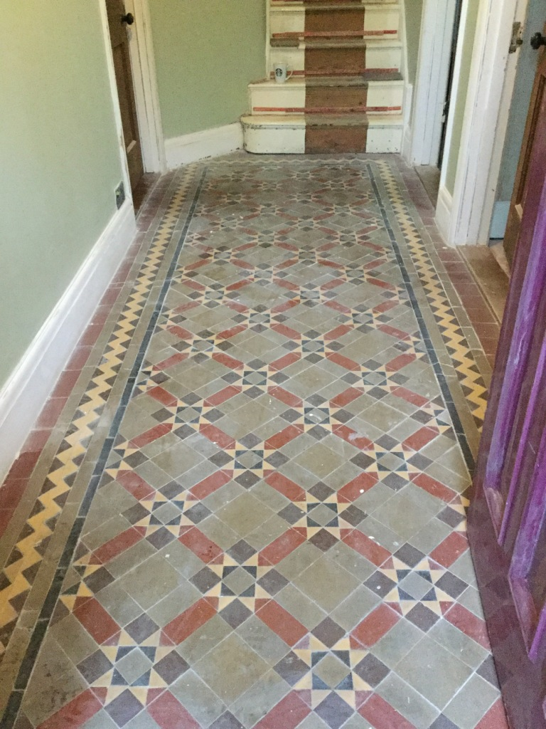 Century Old Victorian Tiled Floor Rejuvenated In Finedon Tile Cleaners Tile Cleaning