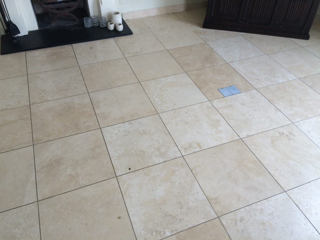 Large Area Of Limestone Tiled Flooring Burnished In Esher
