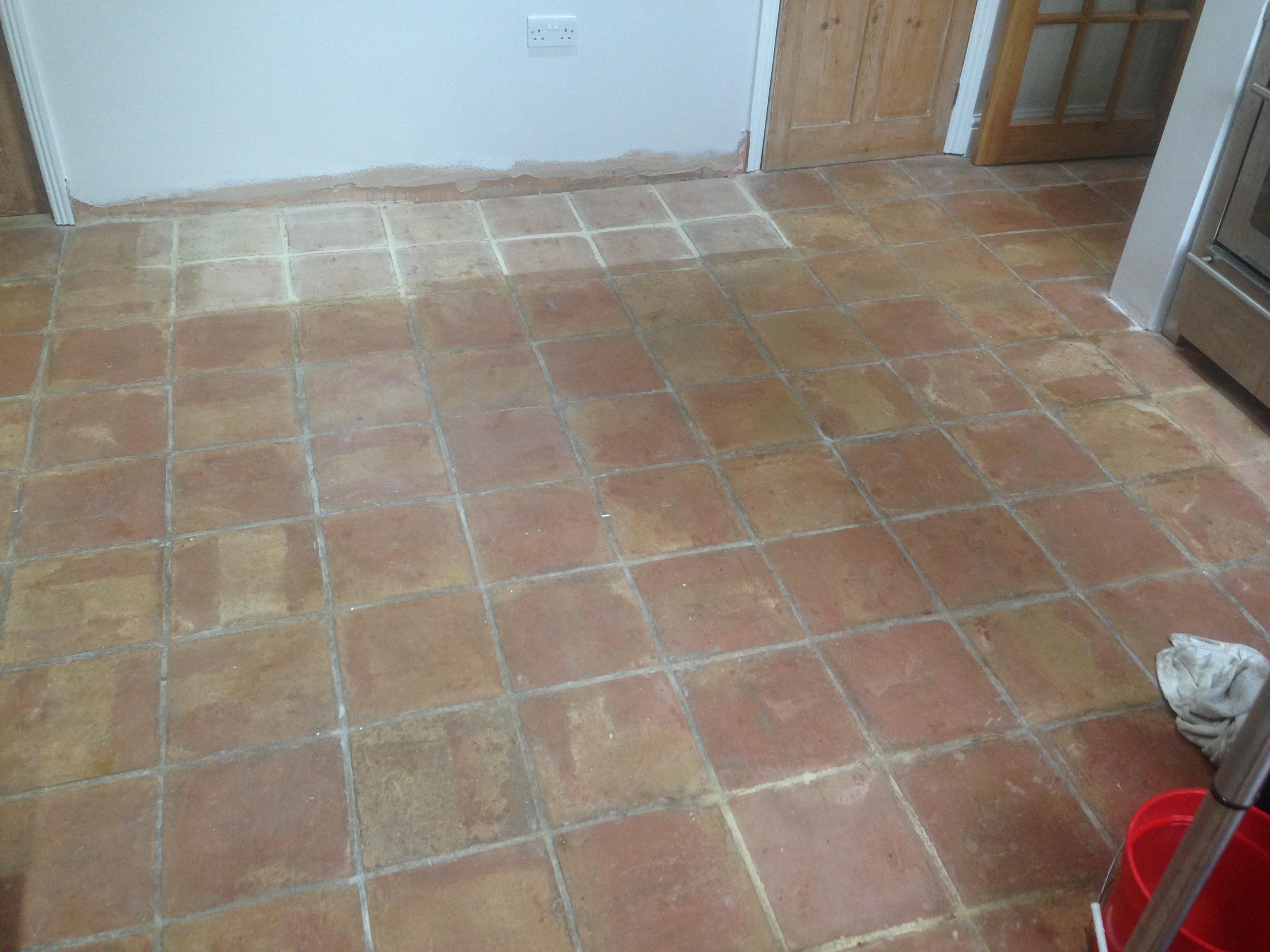 Old Terracotta Floor Refurbished In Shenley Brook End