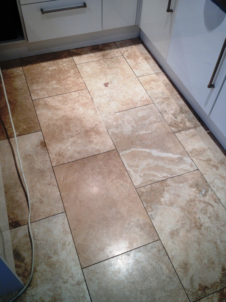 Polishing Travertine Tiled Kitchen Floor In Hampton Tile