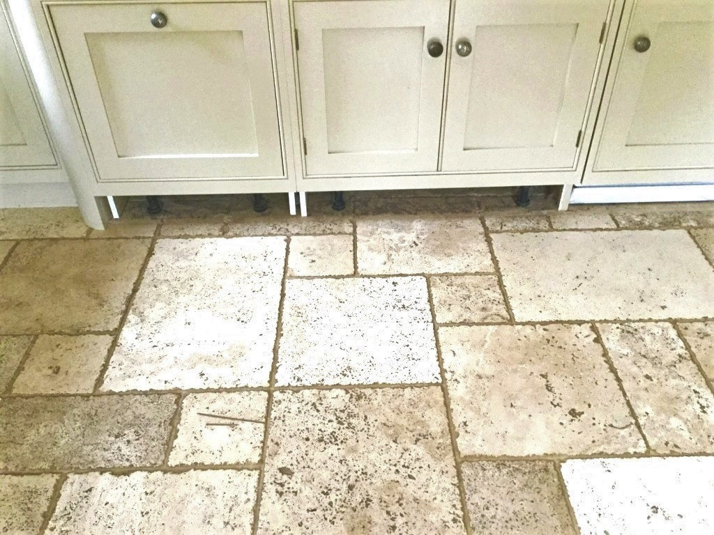 Badly Stained And Pitted Travertine Kitchen Tiles Restored
