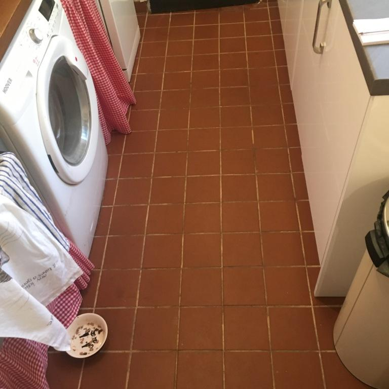 Kitchen Quarry Tiles Floor Treated To A Deep Clean And