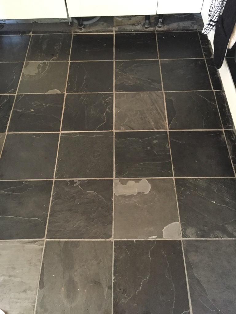 Dull Slate Tiled Kitchen Floor Refreshed In Oxford Tile