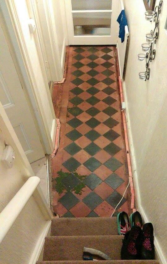 Restoring Neglected Geometric Victorian Hallway Tiles In
