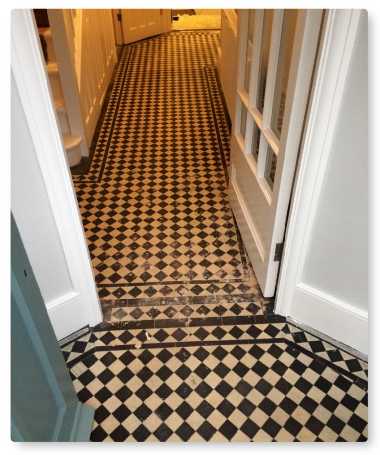 Edwardian Style Hallway Floor Cleaned And Repaired In