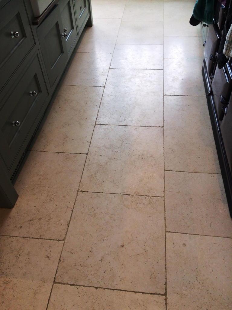 Polishing And Sealing A Dirty Limestone Kitchen Floor In