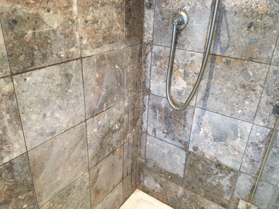 Acid Damaged Marble Shower Cubicle Restored Leatherhead Tile Cleaners Cleaning