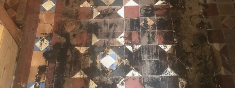 Bitumen Stained Victorian Geometric Hallway Rejuvenated In