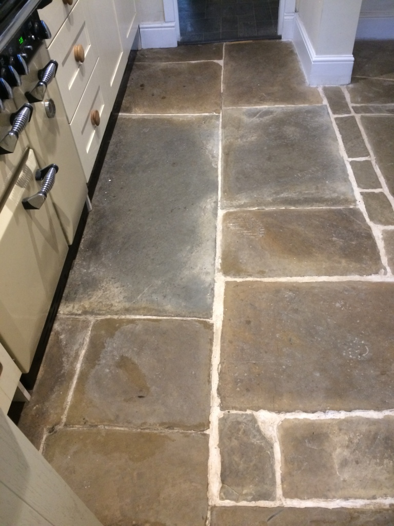 Old Flagstone Tiled Kitchen Floor Renovated At A