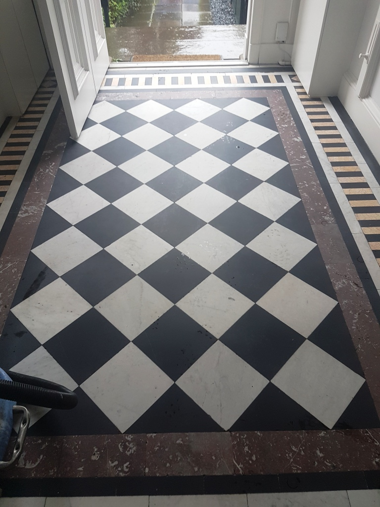 Marble Tiled Vestibule Cleaned And Polished In Edinburgh