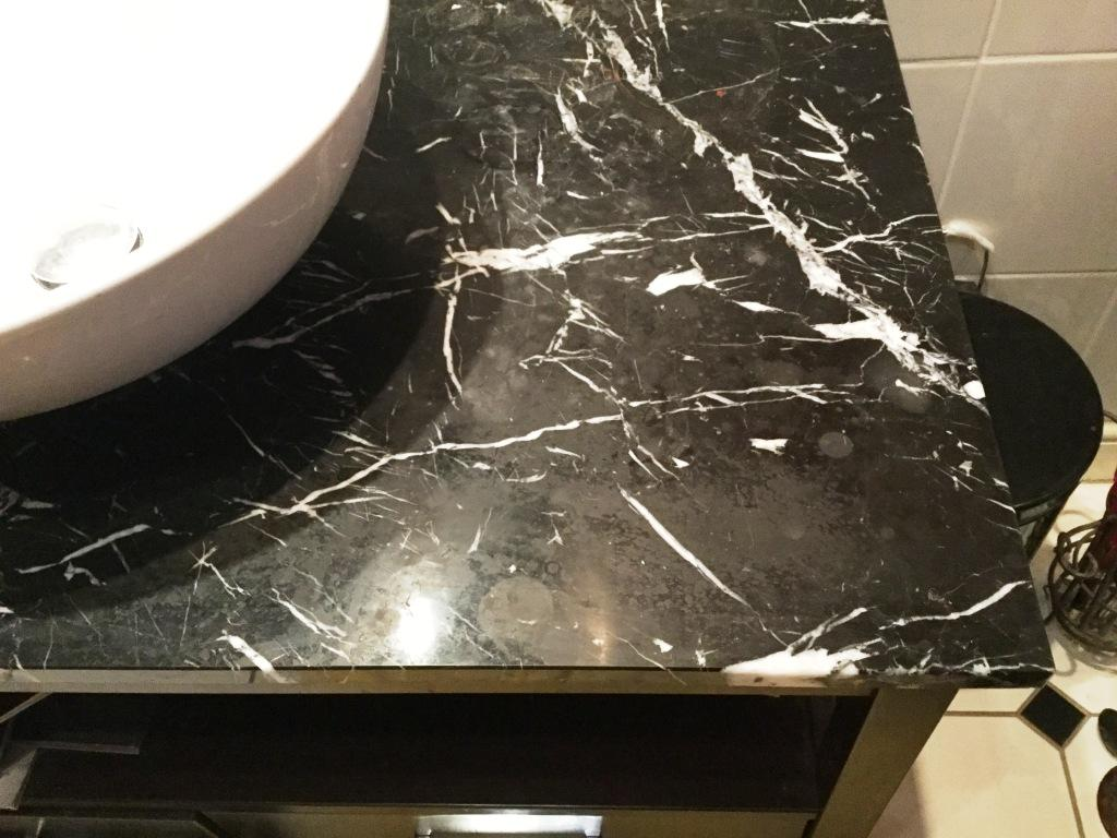 Damaged Marble Bathroom Countertop Polished And Sealed In