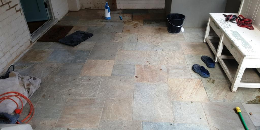 Lacklustre Multi Coloured Slate Tiled Floor Transformed In