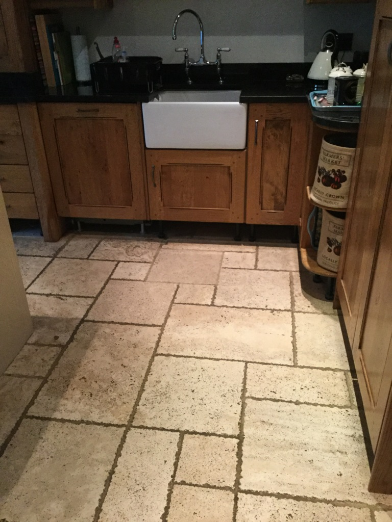 Tumbled Travertine Kitchen Floor Before Cleaning Clophill Village