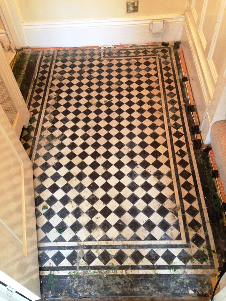 Beautiful Black And White Victorian Tiled Hallway Renovation In