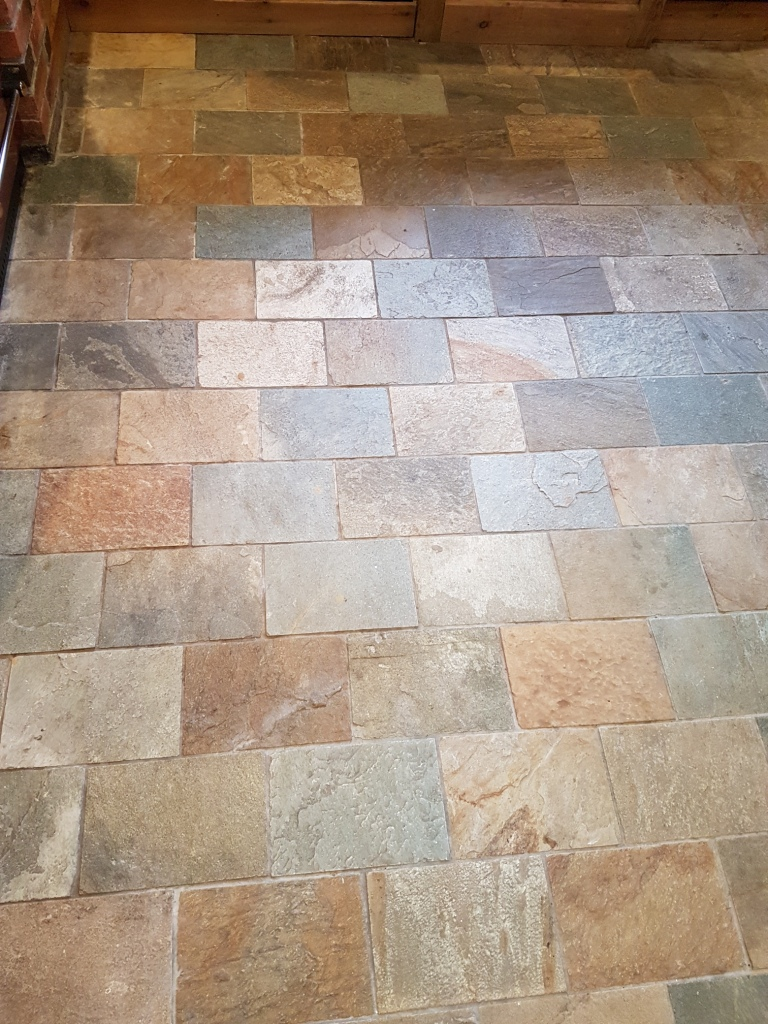 Refreshing dull slate kitchen floor tiles in ticknall for Tiling kitchen floor