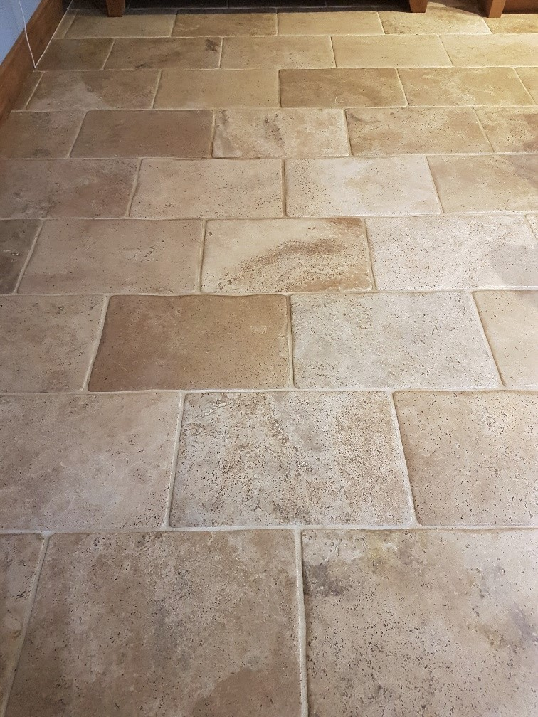 Limestone Or Travertine Tile : Yellow stained bullnose travertine tiles rejuvenated in