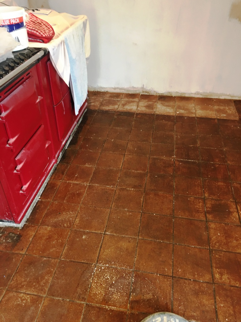 Very Dirty Quarry Tiled Kitchen Floor Restored in Rotherfield ...