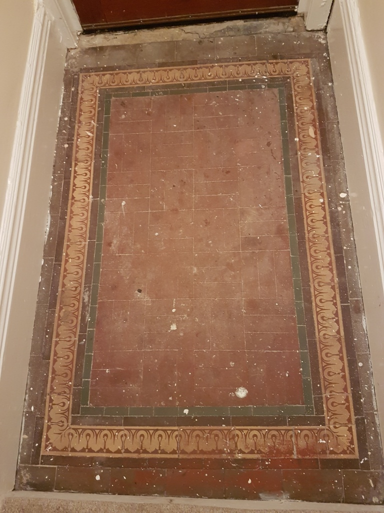 Dirty Paint Marked Victorian Tiled Entranceway Restored In