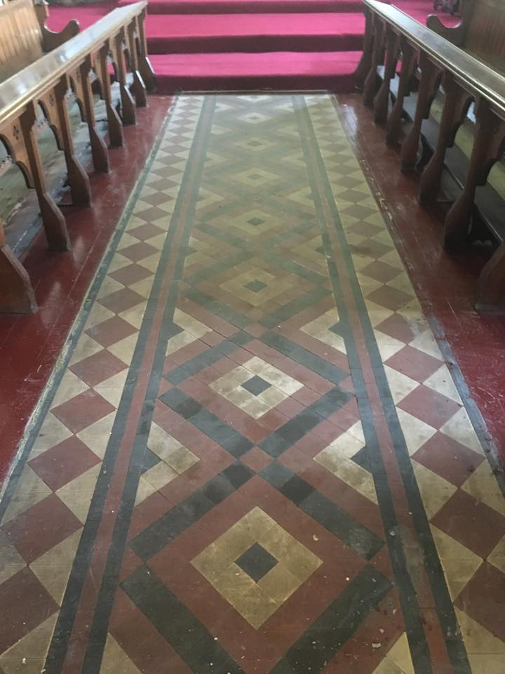 1877 Victorian Tiled Church Floor Restored In Rishton