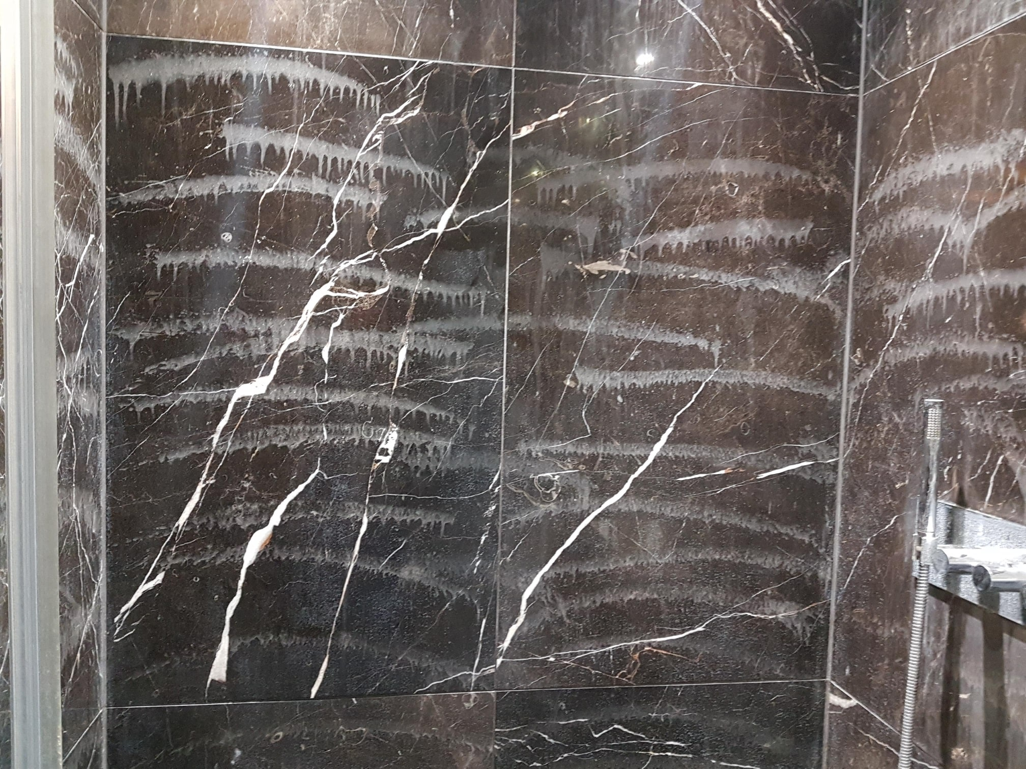 Restoration Of Viakal Damaged Marble Shower Tiles In