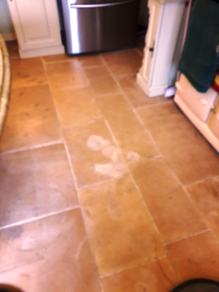 Stains Removed From Limestone Tiled Kitchen Floor In Tutbury