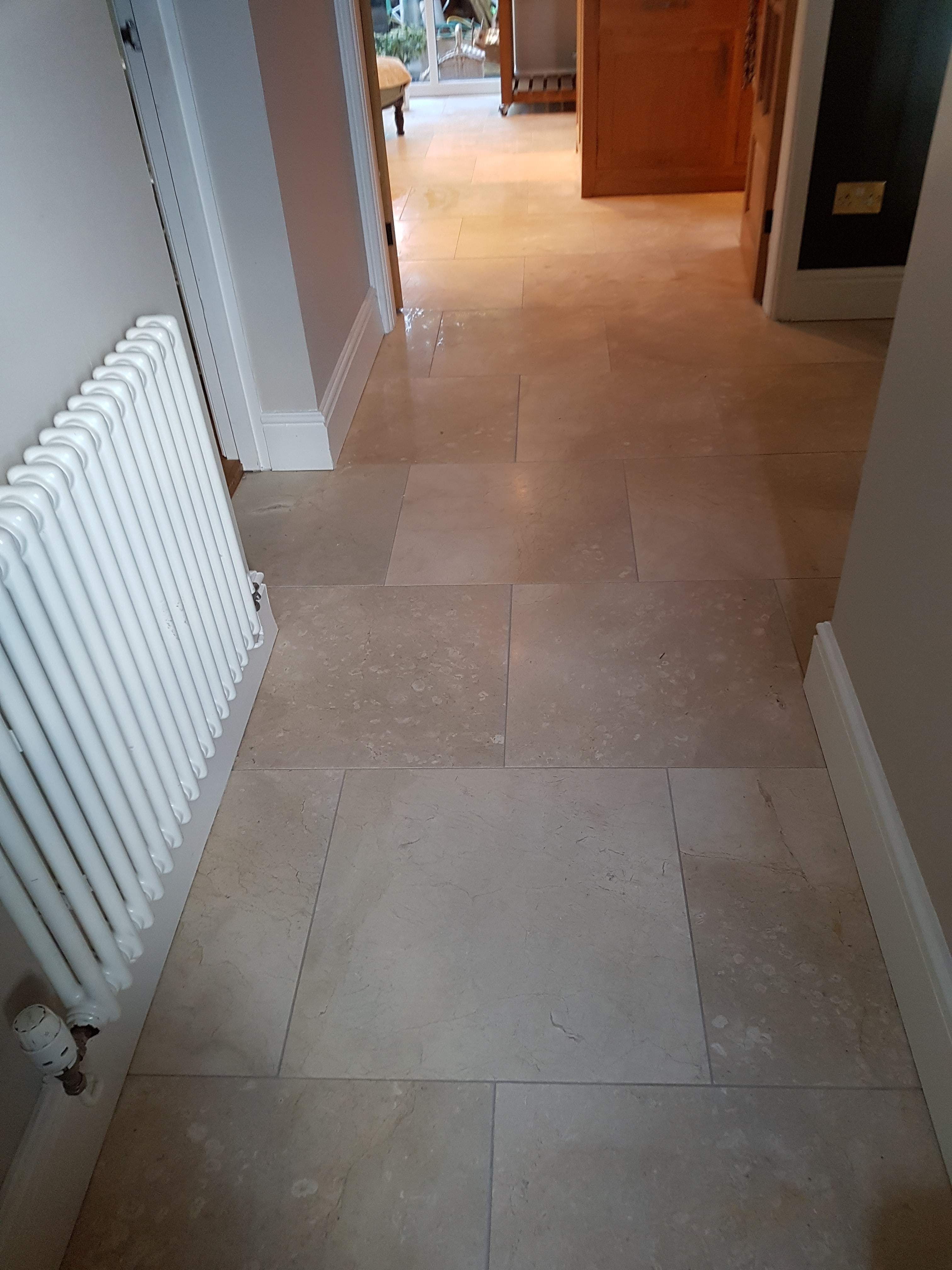 Polishing marble floor tiles in willington tile cleaners tile marble tiled floor before cleaned and polished willington cheshire dailygadgetfo Images