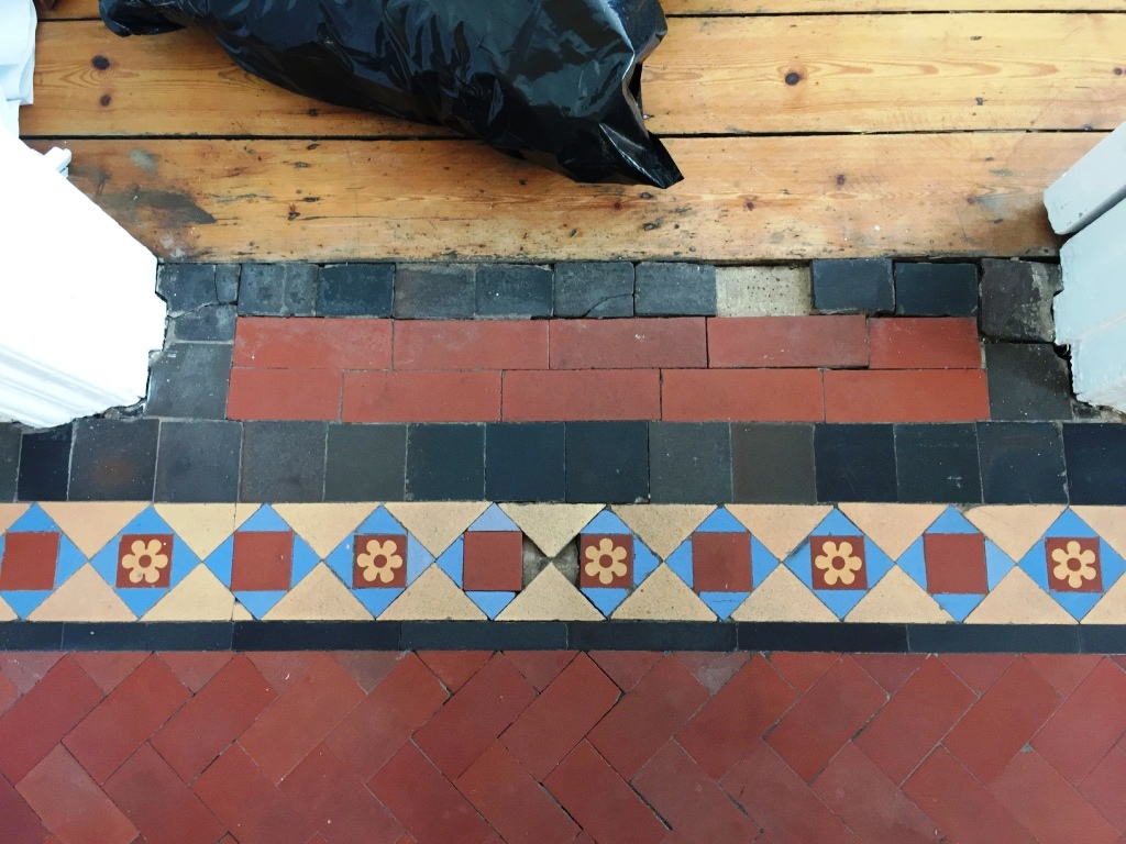 Edwardian tiled hallway floor restored in crouch end london edwardian hallway threshold before restoration crouch end dailygadgetfo Choice Image