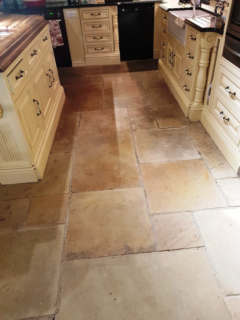 Dull Sandstone Kitchen Tiles Revitalised In Quarry Bank Mill Tile
