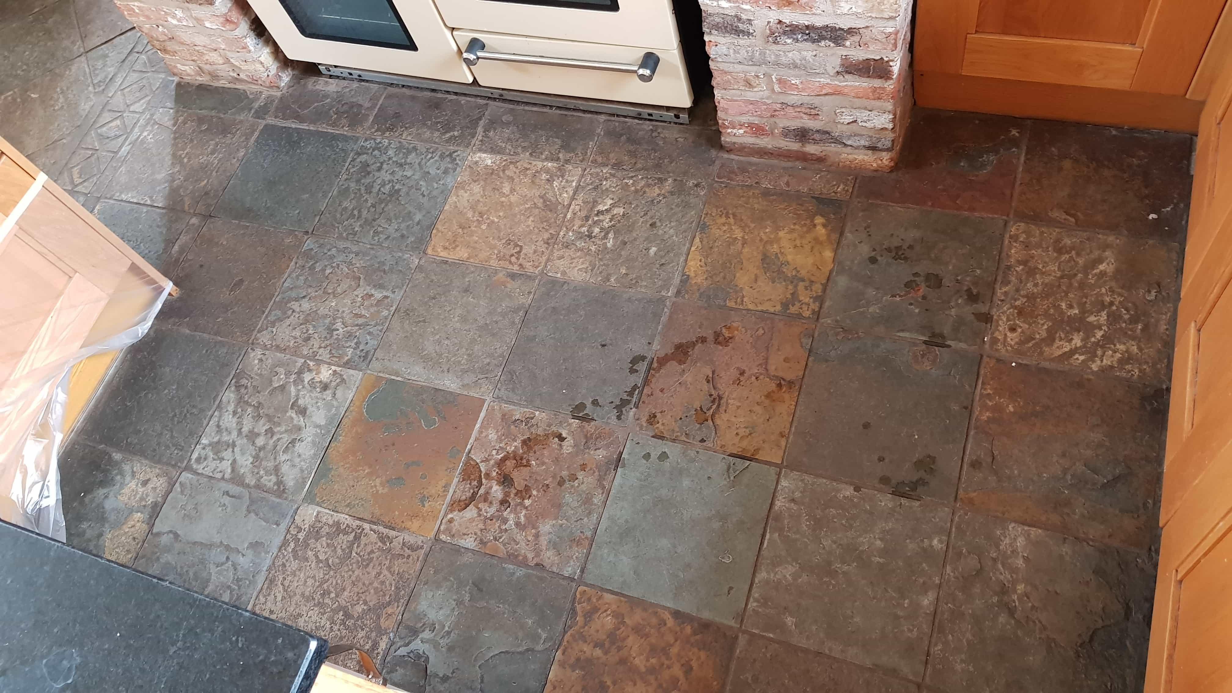 Restoring a Beautiful Slate Tiled Kitchen Floor in Silkstone ...