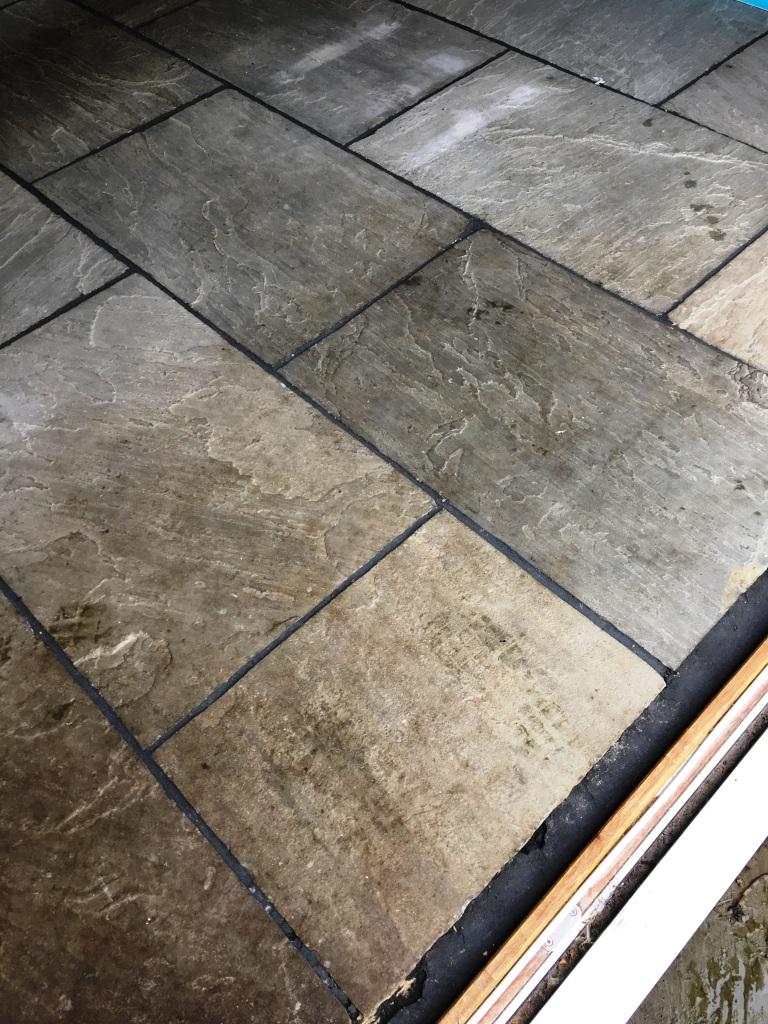 Deep Cleaning Flagstone Flooring In Vines Cross Tile