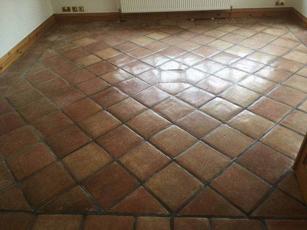Carpet Covered Mexican Terracotta Floor Restored In