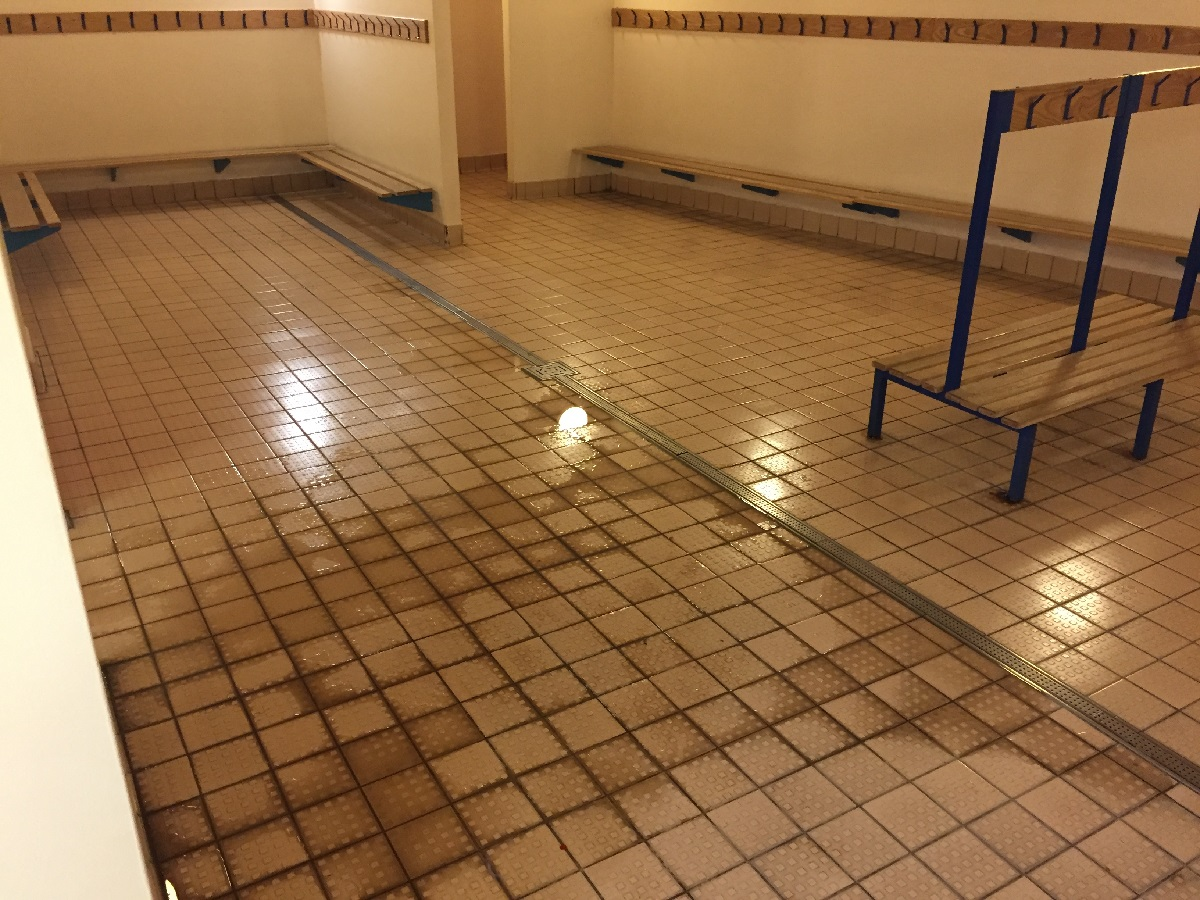 Deep Cleaning Changing Room Tiles At A Bishops Stortford