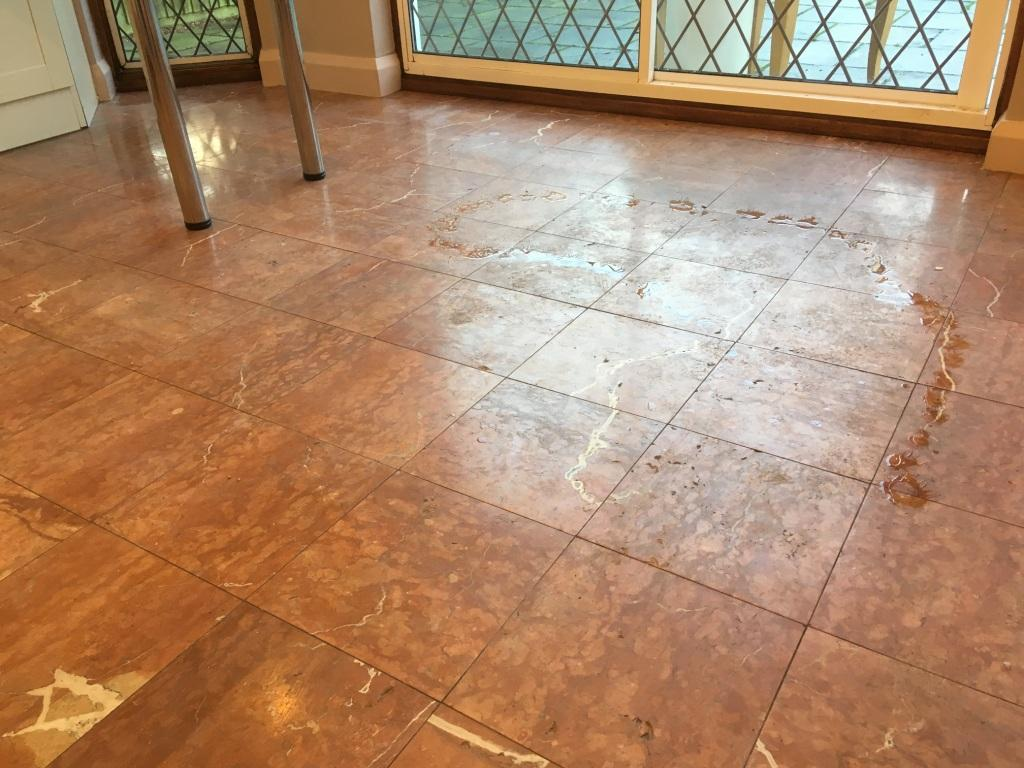 Red And Brown Marble Tiled Kitchen Floor Polishing