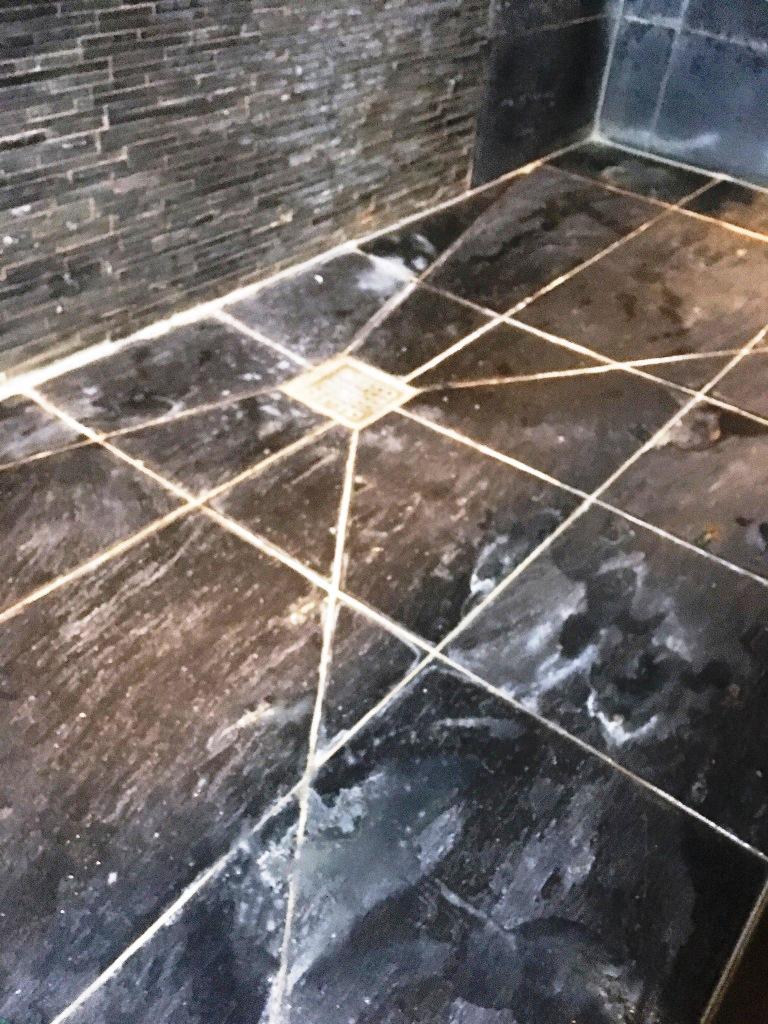 Removing Limescale From Slate Shower Tiles In Oxshott Tile