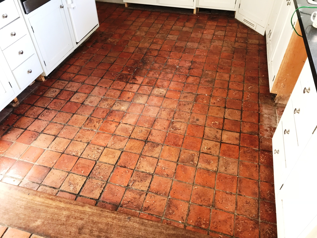 Dirty Wax Sealed Quarry And Terracotta Floor Renovated In