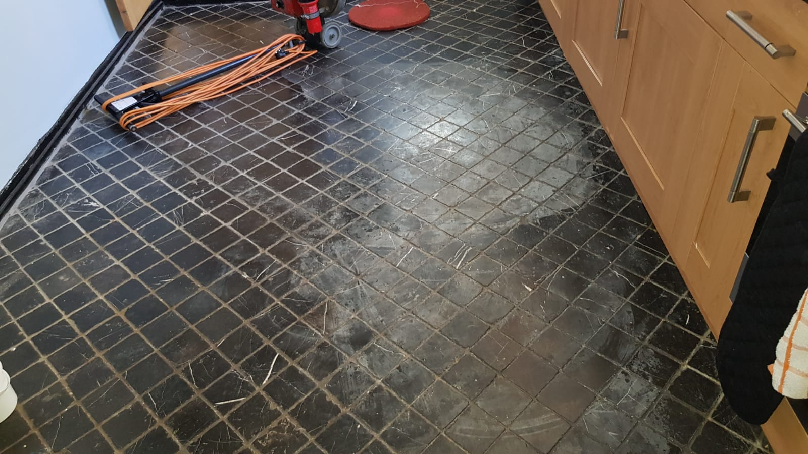 Acid Damaged Marble Kitchen Floor Restored In Winchester Tile Cleaners Tile Cleaning