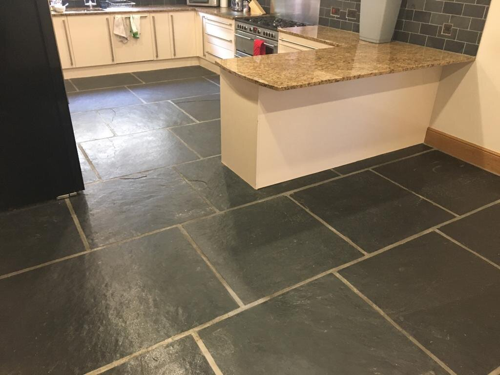 Large Format Slate Kitchen Floor Tiles Renovated In